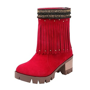 Show Shine Women's Chic Platform High Heel Tassels Short Boots (6.5, black)