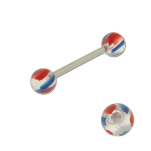 Acrylic Barbell Tongue Ring with Clear, Red & Blue Ball