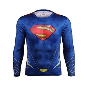3D Superman Superhero Cosplay Costume Quick-Dry Sport T-Shirt Gym Cycling Jersey (Asian-3XL)
