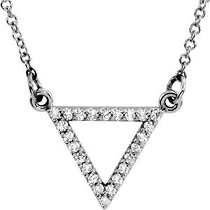 14kt White 1/8 CTW Diamond Triangle 16
