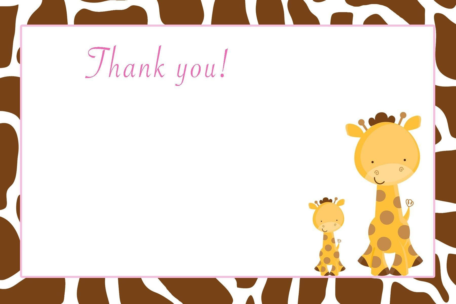 line Store 30 Thank You Cards Brown White Baby Giraffe Jungle