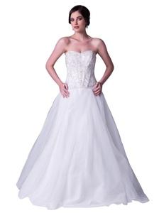 JOYNO BRIDE Women Ivory Strapless Beading Tulle A line Wedding Dress Gowns (2, Ivory)