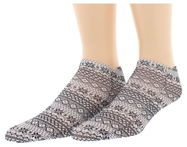 Sof Sole Womens Digital Design Sweater Pattern Low Cut Socks Two Pack Black 5/10