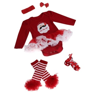 Elevin(TM)Christmas Newborn Baby Girl Party Outfits Romper Clothing Sets Tutu Dress (6-12M, Red)