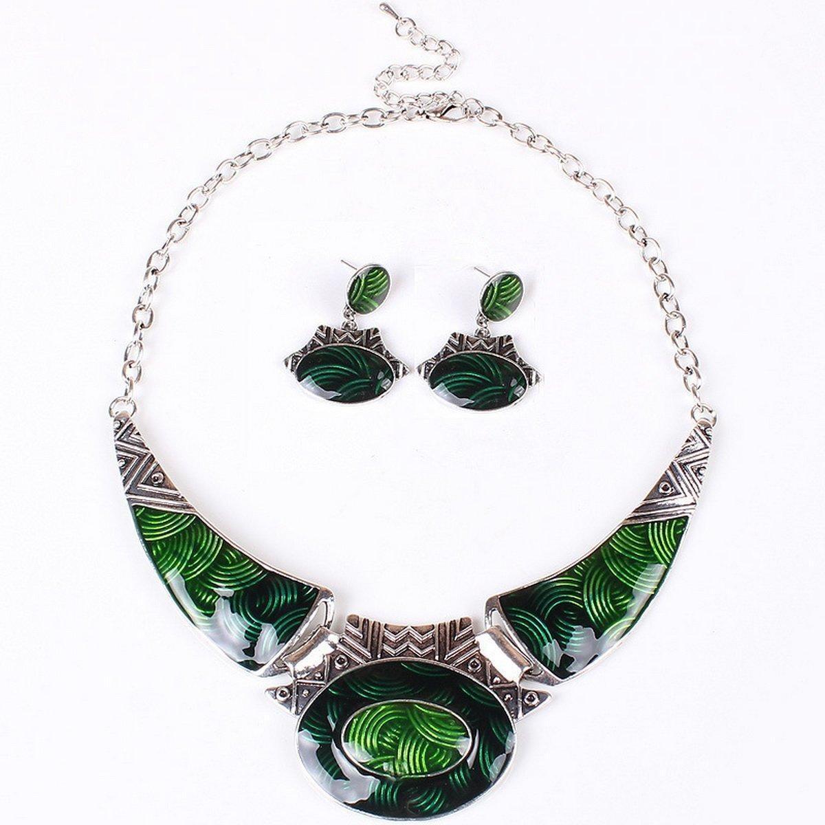 ARICO Enamel Jewelry Moon Jewelry Set Vintage Jewelry Sets Statement Necklace Set Earrings NB307