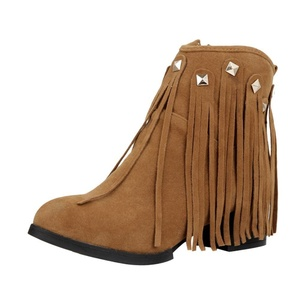 Show Shine Women's Fashion Point Toe Mid Heel Tassels Ankle Boots (5.5, brown)