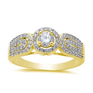 Accent Halo Wedding Engagement Ring Round Cut Plated Cubic Zirconia Yellow Gold Solid 925 Sterling Silver