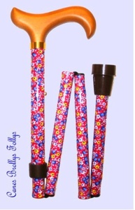 Folding Walking Stick - 4816C Pink Floral by Classic Canes by Classic Canes
