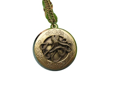 Brass Octopus Locket Necklace Round Locket Antiqued Brass Gothic Victorian Steampunk Locket,5pcs