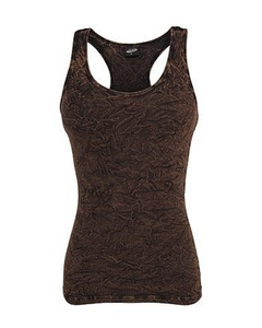 URBAN CLASSICS LADIES CRINKLE CAMO TANKTOP, Gre:S;Farbe:brown by Urban Classics