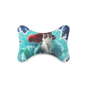 Custom Travel Car Seat Neck Pillow Grumpy cat cool Bone Shape Neck Rest Cushion (Only One)