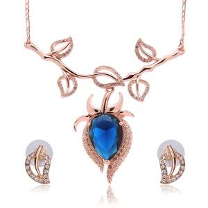Gem leaves Crystal Opal Jewelry Set Wedding Accessories Wedding jewelry Earrings + necklace