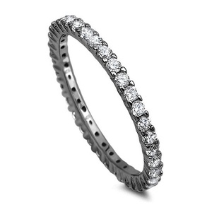2mm Full Eternity Wedding Ring Band Round Cubic Zirconia CZ 14 Black Gold over Plated 925 Sterling Silver