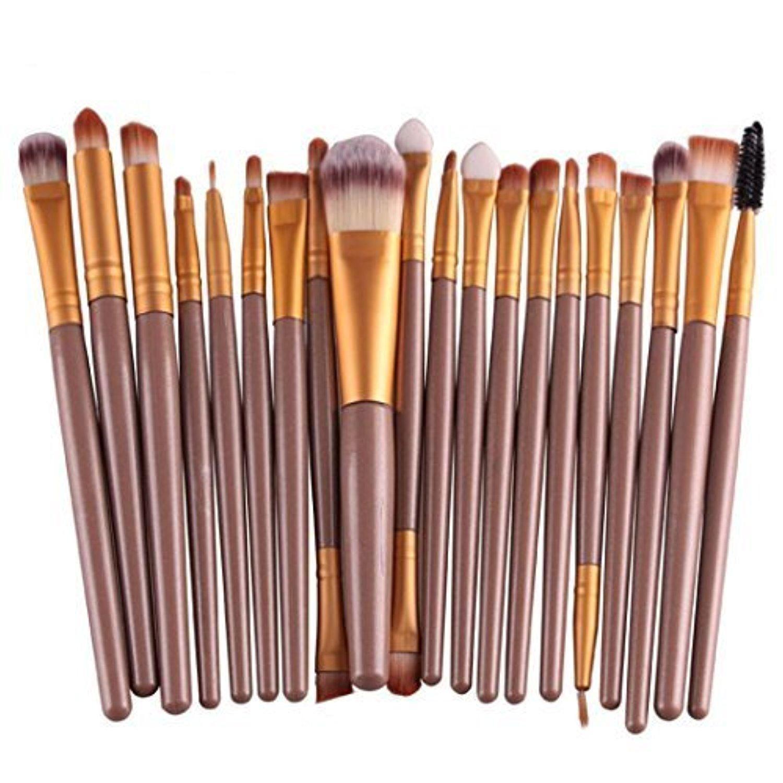 Feng Pro Wool Make Up Brush Set 20 pcs Makeup Brush Set tools Make-up Toiletry Kit (Gold) by Feng Brush