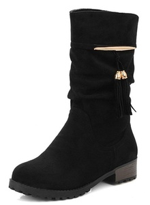 IDIFU Women's Casual Tassels Low Heels Chunky Round Toe Slouchy Mid Calf Boots Black 8 B(M) US