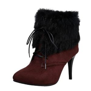 Show Shine Women's Lace Up High Heel Stiletto Western Martin Boots (8.5, navy blue)