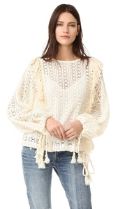 See by Chloe Women's Crochet Lace Top, Off White, 38