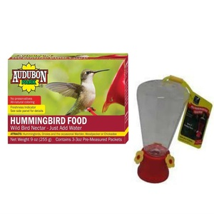Audubon Hummingbird Food 3 3Oz Pre Measured Packets With A Bonus Blue Bunting 10 oz Hummingbird Feeder