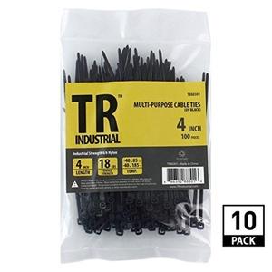 TR Industrial TR-CT41000 Multi-Purpose UV Resistant Cable Ties , 4, Black by TR Industrial