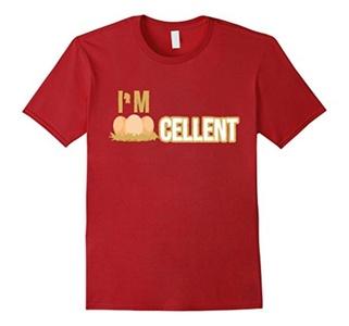 Men's I'm Eggcellent Excellent Chicken Hen Nest Eggs Funny T-shirt 3XL Cranberry
