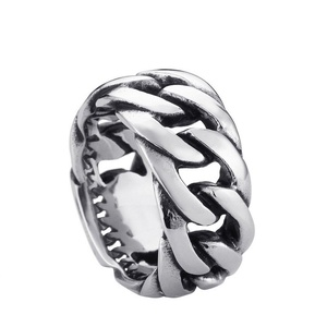 ARICO titanium steel Gothic chain ring personality retro ring for men stainless steel ring jewelry 12.0
