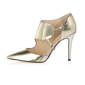 Eldof Women's 100mm Pointed Toe High Heel Cut Out Metallic Pumps Double Ankle Buckles Dress Shoes Gold US13