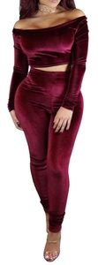 Kearia Women Velvet Off Shoulder Long Sleeve Crop Top Long Pants Bodycon Two Piece Set Wine Red Medium