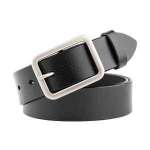 JasGood Women's Fashion Vintage Genuine Cowhide Leather Belt With Alloy Buckle,F-black,One Size