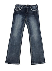 Grace L.A. Idol Women Plus Bootcut Jeans Mid Rise Tribal Princess Flap Stretch