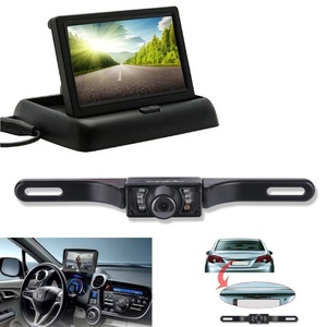 Scenic Tech Backup Camera and Monitor Kit, Portable Foldable 4.3 Inch Color LCD TFT Rearview Monitor Screen with Waterproof Vehicle Car Rear View Backup License Plate Camera