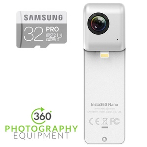 Insta360 Nano 360 ° lens VR Video Camera for iPhone 7 / 7P / 6S / 6SP / 6 / 6P and Samsung 32GB PRO Class 10 Micro SDHC Card