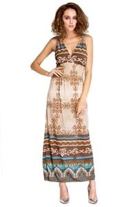 LI'L BLACK DRESS New Maxi Lace Back Sexy Womens Summer Bohemian V-Neck Long Beach Dress (One Size, Print)