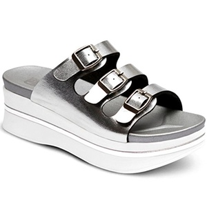 New SNRD Women Trend Comfort Wedge Heel Platform Slide Sandals shoes (8, Silver)