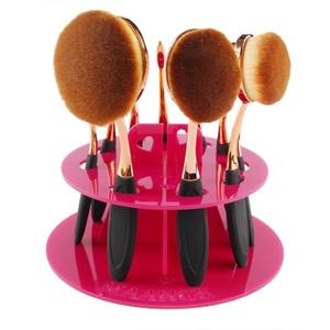Oval Makeup Brush Holder, Mostsola 10 Hole Makeup Brush Drying Rack Organizer Cosmetic Shelf Tool (Hot Pink)