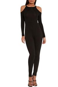 VamJump Women Autum Long Sleeve Cold Shoulder Tight Jumpsuit Playsuit Black M