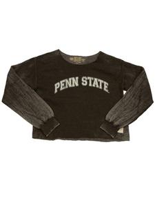 Penn State Nittany Lions Retro Brand WOMENS Gray Cropped Sweatshirt T-Shirt (S)
