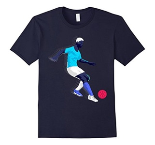 Men's Neon Soccer Player T-Shirt 2XL Navy