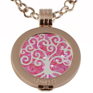 Quiges - Women Stainless Steel Necklace with 25mm Coin Locket and Coin Tree of Life/Flower of Life #1004