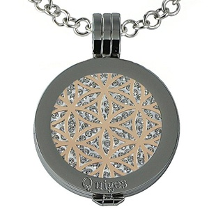 Quiges - Women Stainless Steel Necklace with 25mm Coin Locket and Coin Tree of Life/Flower of Life #1208