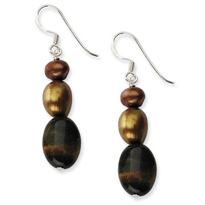 .925 Sterling Silver 44 MM Tiger's Eye & brown Freshwater Cultured Pearl Earrings