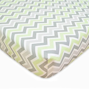 TL Care 100% Cotton Percale Fitted Crib Sheet, Celery Zigzag by TL Care