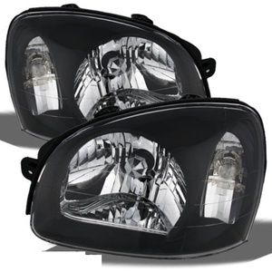 CPW (tm) Replacement Black Headlights Headlamps Left + Right New For 2003-2006 Santa Fe