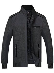Season Show Men's Stand Collar Winter Front Zip Coat Bomber Jacket Dark Grey L