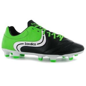 Mens Sondico Touch FG Football Boots Shoes Black Green (UK 9.5 / US 10)