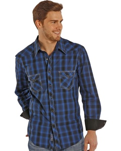 Rock & Roll Cowboy Men's And Blue Poplin Western Snap Shirt Plaid Small