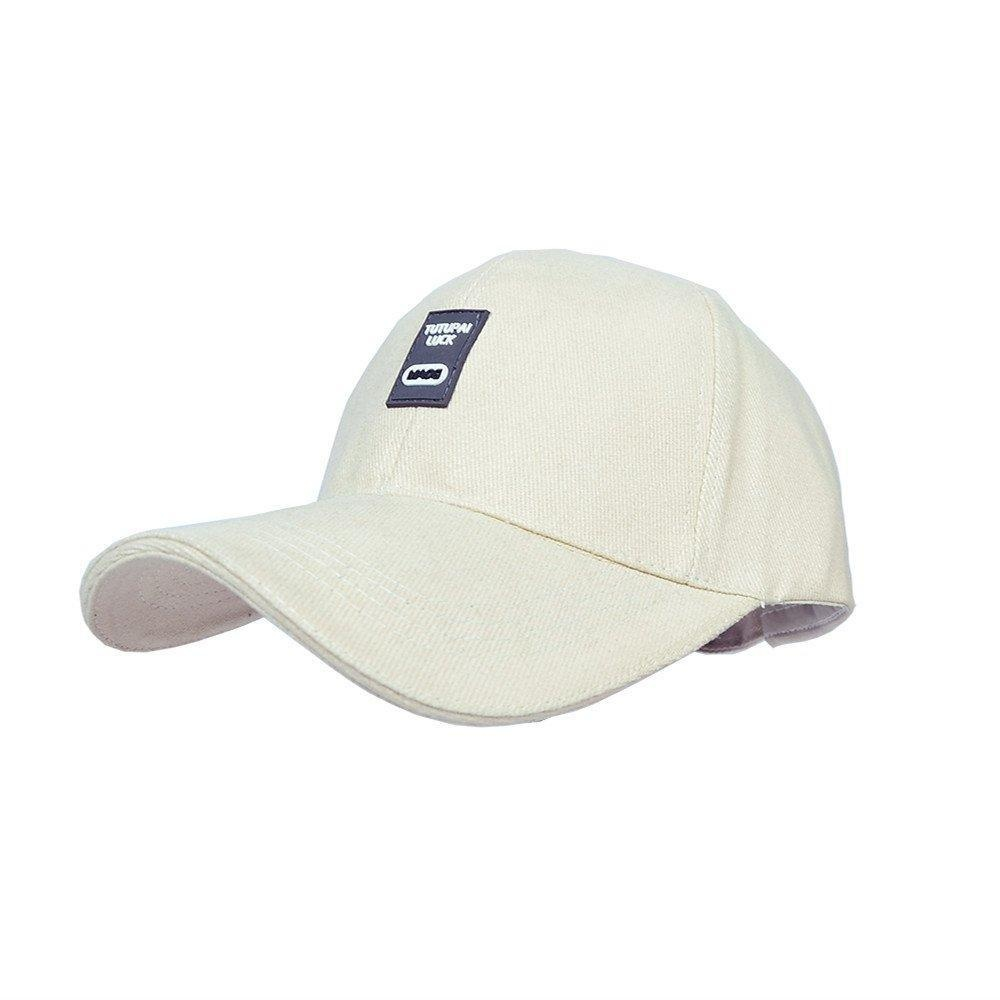 MATCH MUCH Cotton Adjustable Baseball Cap Twill Running Golf Cap (Cream)