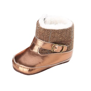Efaster Toddler Infant Baby Girl Gold Snow Boots Soft Sole Prewalker Crib Shoes