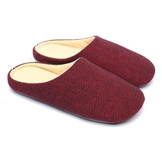 Ofoot Men's & Women's Worsted Fabric Memory Foam Slip-on House Slippers, Anti-slip Indoor Shoes for Travel Work Home (11-12 (BM) US, Claret)