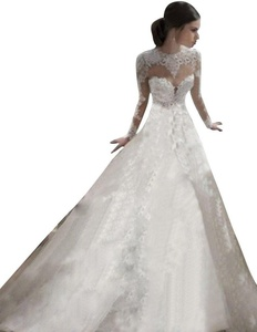JoyVany Lace Wedding Gowns Sexy Open Back Classic Long Sleeves Wedding Dresses White Size 22W