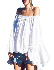 True Tried Women's Sexy Strapless Off Shoulder Long Flare Sleeve Blouse Tops White Large